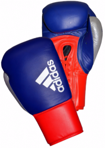 Adidas Hybrid 200 Lace Up Boxing Gloves - Blue/Red